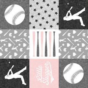 little slugger - pink and grey baseball patchwork wholecloth (90)