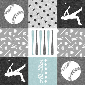 All-Star - grey and blue baseball patchwork wholecloth (90)