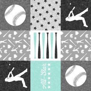 baseball patchwork - All - Star - aqua grey  (90)