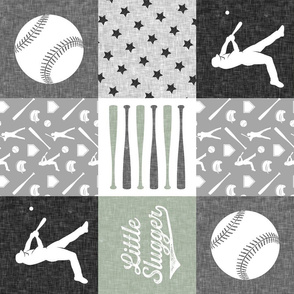 Little Slugger baseball patchwork - sage - wholecloth (90)
