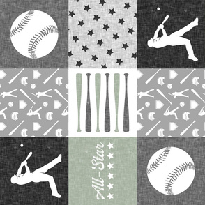 All-Star - baseball patchwork - sage - wholecloth (90)