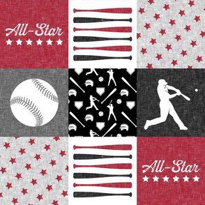 All-Star -  - red and grey baseball patchwork wholecloth