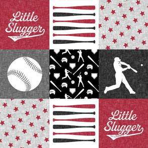 little slugger - red and grey baseball patchwork wholecloth
