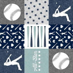 All-Star - baseball patchwork - dusty blue - wholecloth  (90)