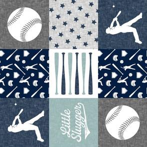 Little Slugger -  baseball patchwork - dusty blue - wholecloth  (90)