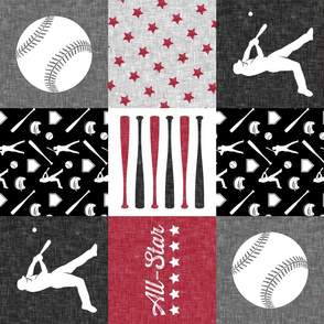 All-Star - red and grey baseball patchwork wholecloth  (90)