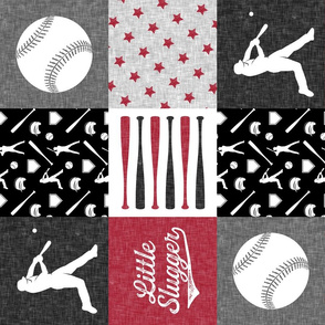 little slugger - red and grey baseball patchwork wholecloth  (90)