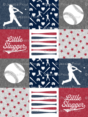 Little Slugger - red and blue baseball patchwork wholecloth