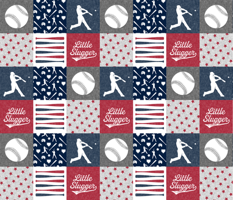 Little Slugger - red and blue baseball patchwork wholecloth fabric by littlearrowdesign on Spoonflower - custom fabric