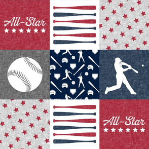 All-Star - red and blue baseball patchwork wholecloth