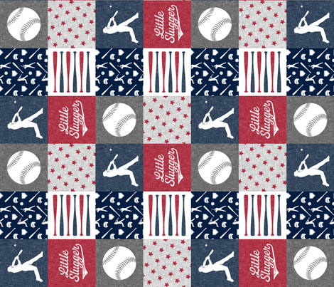 Little Slugger - red and blue baseball patchwork wholecloth (90) fabric by littlearrowdesign on Spoonflower - custom fabric