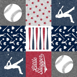 Little Slugger - red and blue baseball patchwork wholecloth (90)