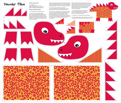 Yellow Red Orange Dinosaur Kids Pillow Cut and Sew fabric by phyllisdobbs on Spoonflower - custom fabric