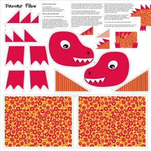 Yellow Red Orange Dinosaur Kids Pillow Cut and Sew