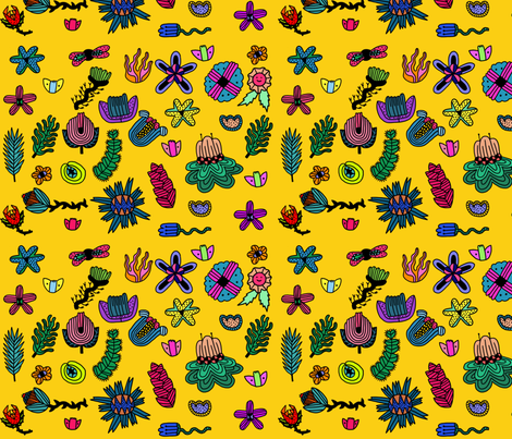 Alien space plants complete jpg fabric pollypaperclip for Alien print fabric