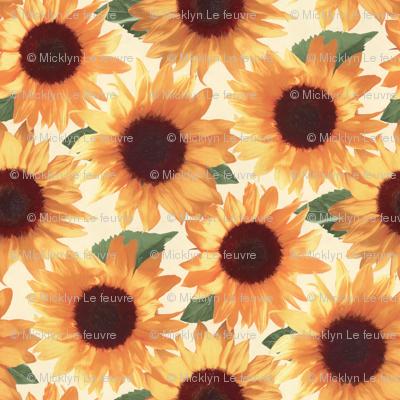 Tiny Happy Orange Sunflowers