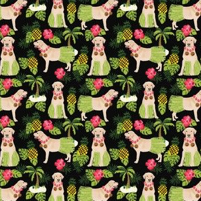yellow lab hula fabric summer tropical labrador design - black - tiny print