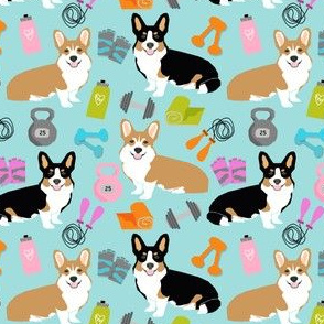 corgi workout fitness fabric cute dumbbells and kettlebells dog fabric best dogs design - smaller