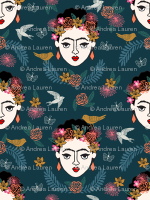 frida kahlo // hand drawn navy kids floral artist - LARGE