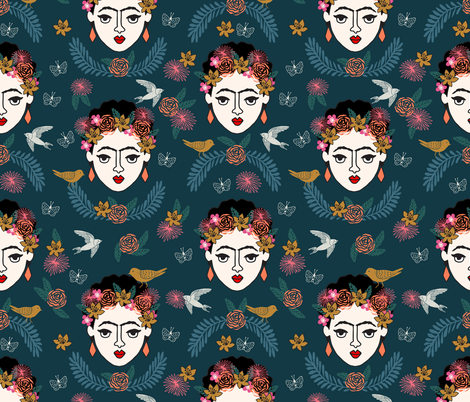 frida kahlo // hand drawn navy kids floral artist - LARGE fabric by andrea_lauren on Spoonflower - custom fabric