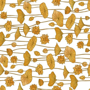 Golden Lotuses on White - Horizontal