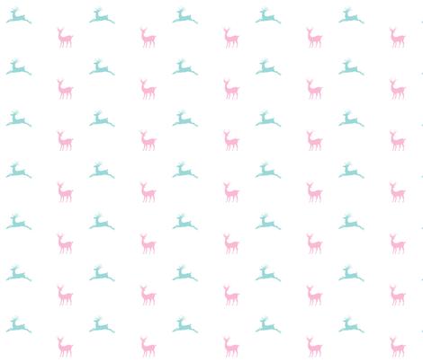 Deer 414 - pink mint fabric by drapestudio on Spoonflower - custom fabric