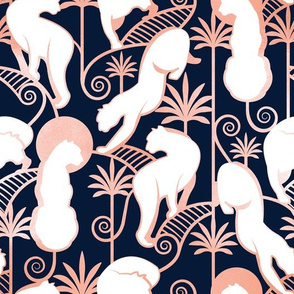 Deco Panthers Garden // navy background white and metal rose big cats