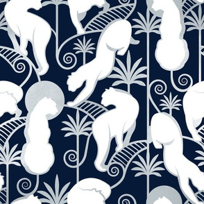 Deco Panthers Garden // navy background white and silver big cats