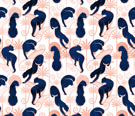 Deco Panthers Garden // white background navy and metal rose big cats fabric by selmacardoso on Spoonflower - custom fabric