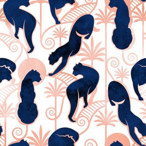 Deco Panthers Garden // white background navy and metal rose big cats