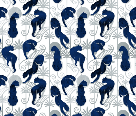 Deco Panthers Garden // white background navy and silver big cats fabric by selmacardoso on Spoonflower - custom fabric