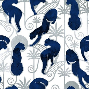 Deco Panthers Garden // white background navy and silver big cats