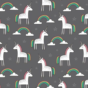 Cute Unicorn Rainbow on Dark Grey Smaller 1,5 inch