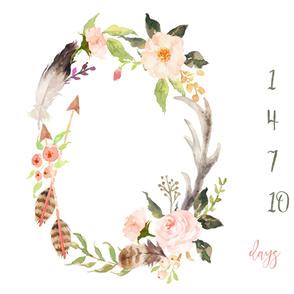"54""x36"" // Boho Floral Antler Baby Milestone Blanket"