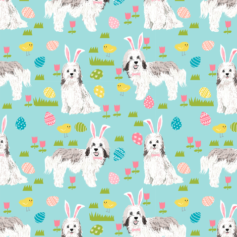 havanese easter dog breed fabric spring easter bunny pure bred blue fabric by petfriendly on Spoonflower - custom fabric