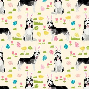 husky dog fabric spring easter eggs bunny huskies fabric light yellow