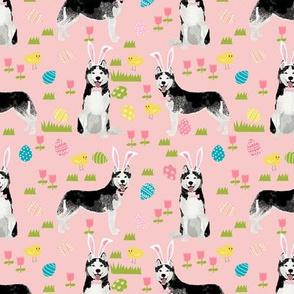 husky dog fabric spring easter eggs bunny huskies fabric pink