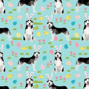 husky dog fabric spring easter eggs bunny huskies fabric blue
