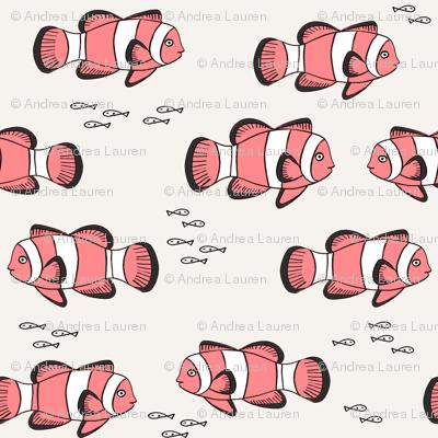 clown fish // fish coral reef animal tropical nursery ocean life beige