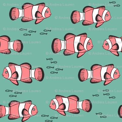 clown fish // fish coral reef animal tropical nursery ocean life medium green