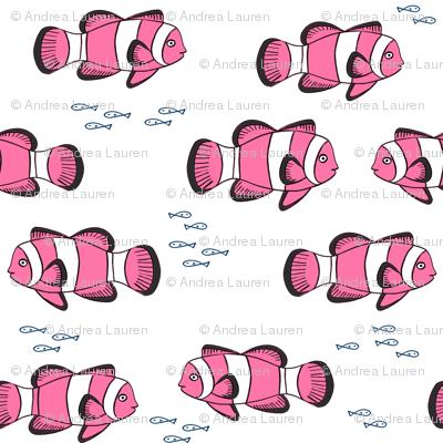 clown fish // fish coral reef animal tropical nursery ocean life white pink