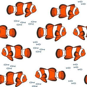 clown fish // fish coral reef animal tropical nursery ocean life white orange