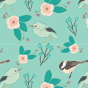 teal blush birds and flowers