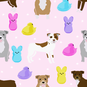 Pitbull Easter candy design - cute pastel easter spring design with dogs - pink