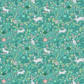 Spring Rabbit and Turtles in a Garden