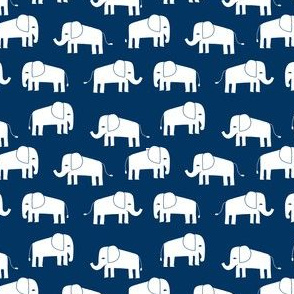 elephant fabric // - elephants, elephant, baby, nursery, cute elephant design - navy