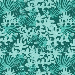 Coral And Fish On Turquoise