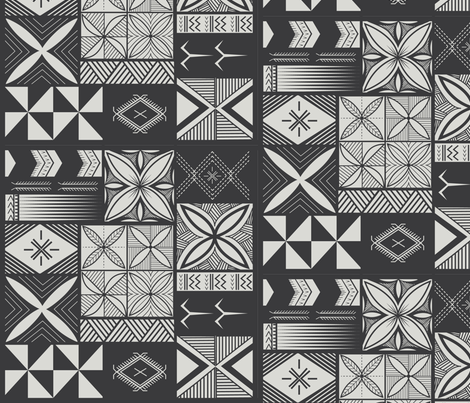 UrbanNesian-Grey-Siapo-_-Tatau-Print fabric by urbannesian on Spoonflower - custom fabric