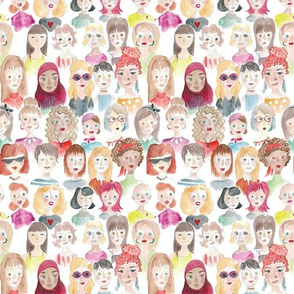 women crowd watercolor