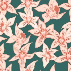 Orchids on teal